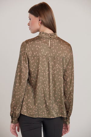 Load image into Gallery viewer, Dalmatian Print Silk Blouse in Khaki - Vercia Fashion Group