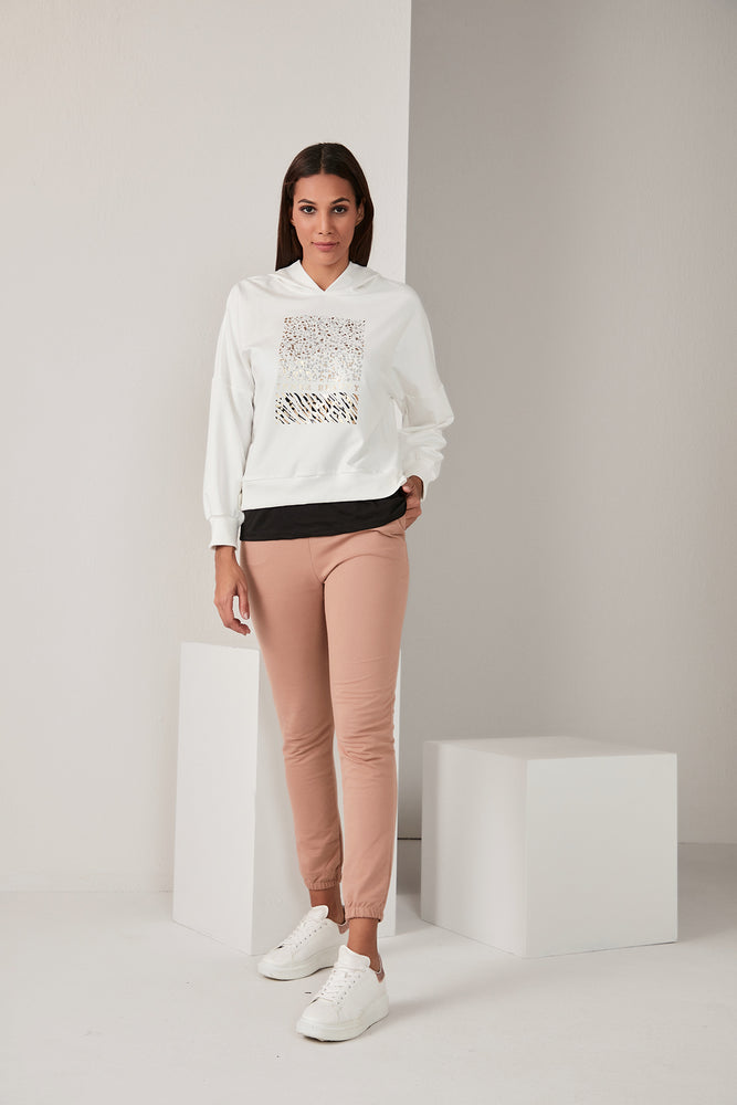White Hoodie With Gold Print - Vercia Fashion Group