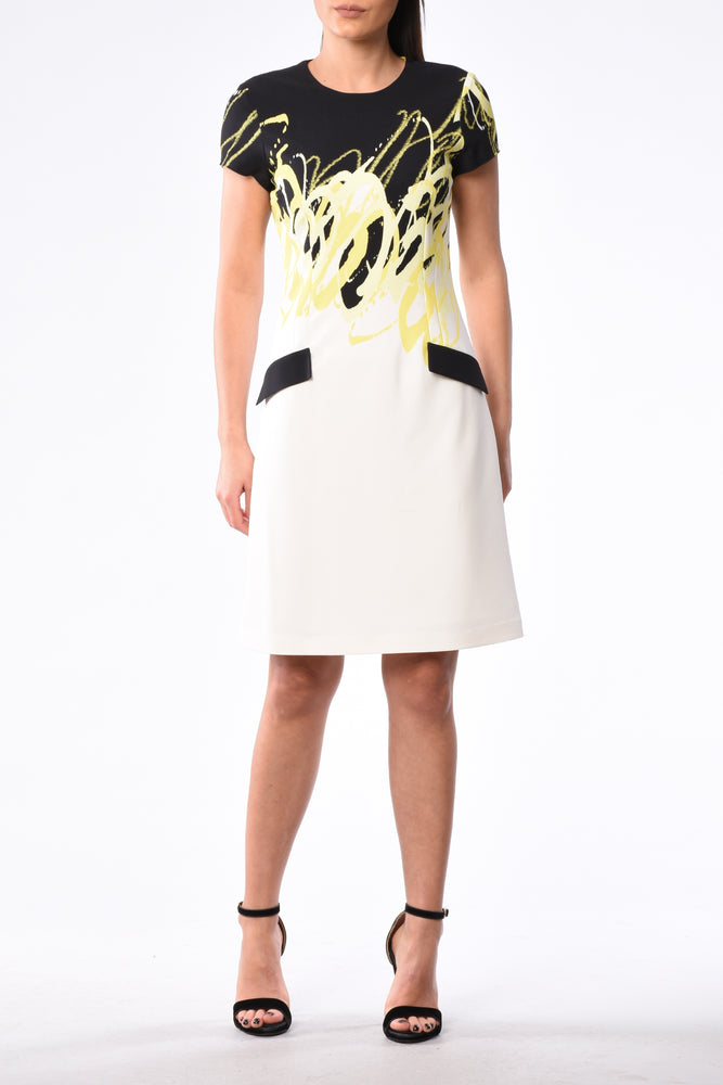 Knee Length Sleeveless Dress In Yellow Black And White Summer Print