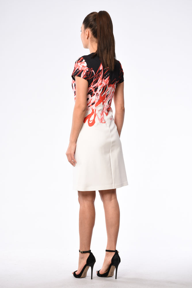 Knee Length Short Sleeve Dress In Black, White And Coral Summery Print