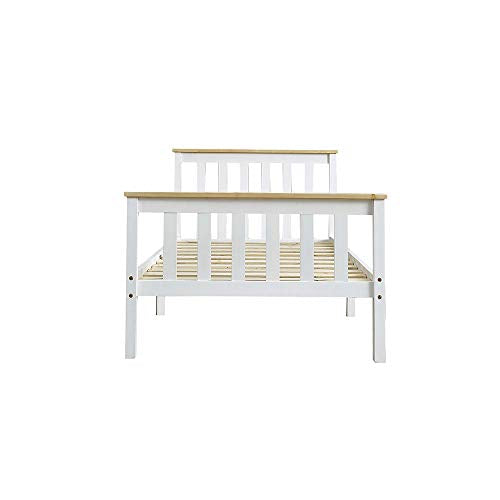 Panana Single Bed Solid Wood Bed Frame 3ft White Wooden For Adults, Kids, Teenagers (White+Wood) - Vercia Fashion Group