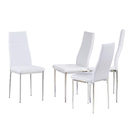 GOLDFAN Modern Rectangle Dining Table and Chairs Set High Gloss Kitchen Table with 4 Soft White Leather Chairs for Dining Room - Vercia Fashion Group
