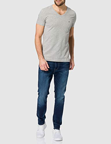 Tommy Hilfiger Men's Stretch Slim FIT Vneck TEE T-Shirt, Medium Grey Heather, L - Vercia Fashion Group