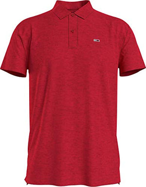 Tommy Jeans Men's TJM Essential Jersey Polo Shirt, Deep Crimson Htr, XXL - Vercia Fashion Group