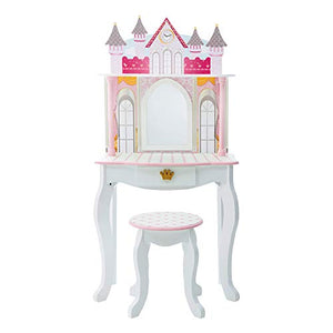 Fantasy Fields By Teamson Kids Vanity Set Castle Dressing Table With Mirror & Stool White TD-12951A - Vercia Fashion Group