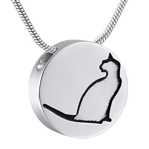 Necklace For Ashes Urn Pendant Necklace For Ashes Memorial Pet Remembrance Jewelry Lovely Cat Inlay Slider Round 20Pcs Necklaces - Vercia Fashion Group