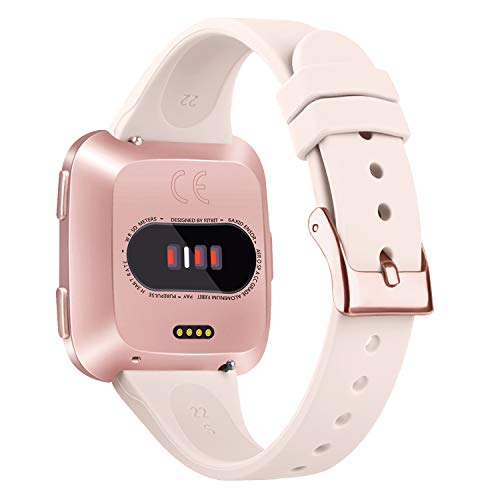 Tobfit Silicone Slim Band Compatible for Fitbit Versa/Lite/SE, Narrow & Thin Sport Wristband with Metal Buckle for Women/Men, Pink Sand, Small - Vercia Fashion Group