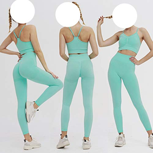 ZYING Seamless Gym Set Women Fitness Yoga Set Sports Suits High Waist Leggings and Push Up Bra Set Sportswear (Color : Green, Size : Large) - Vercia Fashion Group