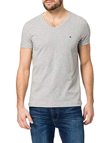 Load image into Gallery viewer, Tommy Hilfiger Men's Stretch Slim FIT Vneck TEE T-Shirt, Medium Grey Heather, L - Vercia Fashion Group