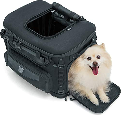 Kuryakyn 5288 Grand Pet Palace: Portable Weather Resistant Motorcycle Dog/Cat Carrier Crate for Luggage Rack or Passenger Seat with Sissy Bar Straps, Black - Vercia Fashion Group
