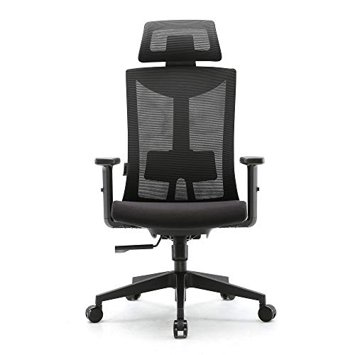 Amazon Brand - Umi Ergonomic office chair, Swivelling Mesh Computer Chair with Adjustable Lumbar Support and PU Armrests, Breathable Mesh Back and Padded Seat Desk Chair for work, 150 kg Max Load - Vercia Fashion Group