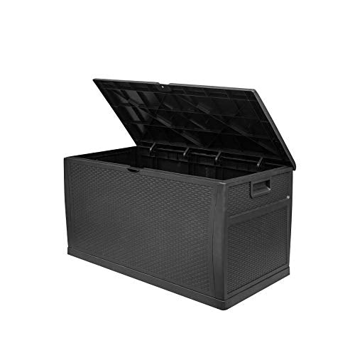 SA Products 460L Weatherproof Rattan Weave Effect Plastic Garden Storage Box XL Capacity - Suitable for Indoor & Outdoor Use - Ideal for Furniture Cushions, Parcels, Tools, Toys, Shed Overflow (Black) - Vercia Fashion Group