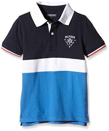 Tommy Hilfiger Kids Boys' Colorblock Polo S/S T-Shirt, Black, 14 - Vercia Fashion Group