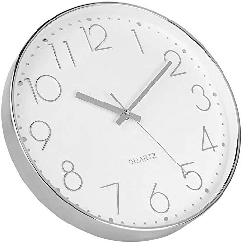 Foxtop Silver Wall Clock Silent Non-Ticking Quartz Decorative Modern Clock for Living Room Home Office School (25 cm) - Vercia Fashion Group