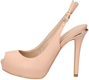 GUESS Women's Hartlie/spuntato (Open Toe)/le Heels, Beige (Light Natural Natu), 5.5 UK - Vercia Fashion Group