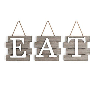 "Barnyard Designs Eat Sign Wall Decor for Kitchen and Home, Distressed Natural, Rustic Farmhouse Country Decorative Wall Art 24"" x 8"" - Vercia Fashion Group"
