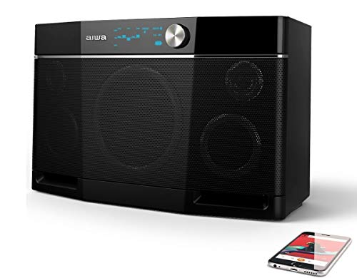 Aiwa Exos-9 Bluetooth Speaker, 200 Watt Portable party stereo, Distortion-Free Loud Music, big outdoor boombox with 9 hours playtime, 5-Kanal-Equalizer, Wireless, NFC, Aux-in, 6.5'' Subwoofer, black - Vercia Fashion Group