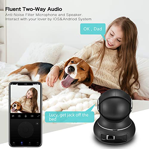 Littlelf Wifi Camera, 1080P Home Security Camera for Baby Elder Pet, Baby Monitor with 360 Degree Rotational Viewing, Night Vision, Motion Detection, Pet Camera Monitor Works with Alexa - Vercia Fashion Group