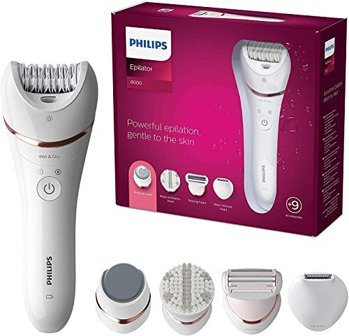 Philips Series 8000 Epilator, Wet and Dry Cordless Hair Removal and Skin Care System, For Legs, Body with 9 Accessories Including Shaver Head and Pedicure Foot File - BRE740/11 - Vercia Fashion Group