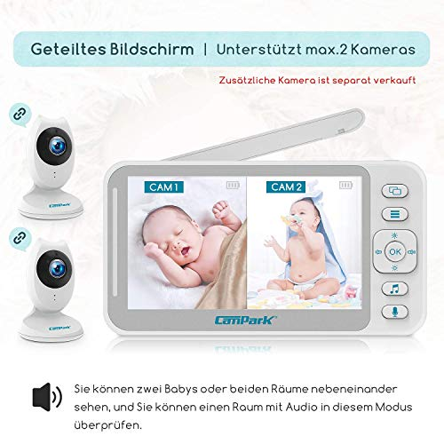Campark Baby Monitor 4.3 inch Split Screen Video Baby Monitor with Camera and Audio, Smart Night Vision, Room Temperature, Two-Way Talk, 8 Lullabies and High Capacity Battery - Vercia Fashion Group