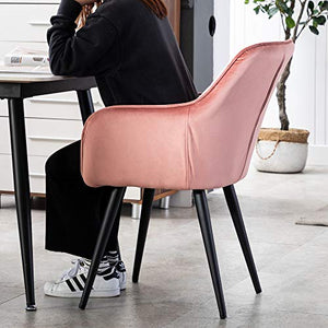 HNNHOME® Dalton Upholstered Kitchen Dining Chair with Arms and Back, Strong Metal Leg, Lounge Living Room Armchair Reception Tub Chair (Pink, Velvet) - Vercia Fashion Group
