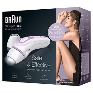 Braun IPL Silk Expert Pro 3 PL3132 Latest Generation IPL, Permanent Visible Hair Removal for Women with Beauty Pouch, Venus Razor and Precision Head, White and Lilac - Vercia Fashion Group