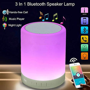 Touch Bedroom Table Lamp Bluetooth Speaker, Night Light LED Bedside Table Lamp with Speaker for Camping, Dimmable Night Light RGB Color Changing -Speakerphone AUX-in Supported - Vercia Fashion Group