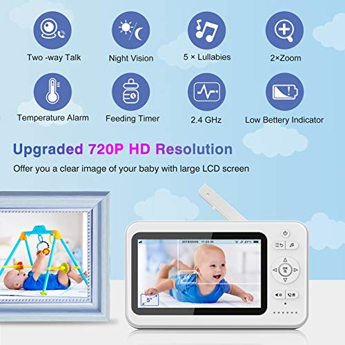 "Baby Monitor, 5"" HD BIGASUO Video Baby Monitor with Camera and Audio, Night Vision, Two-Way Talk, Lullabies, Remote Pan Tilt Zoom, Temperature Sensor, Support 1080P & 2.4GHz Wireless 984ft Long Range - Vercia Fashion Group"