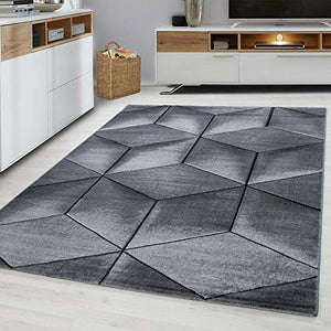 Modern Style Rug CUBIC Design Black Grey Charcoal Rugs Living Room Extra Large Size Soft Touch Short Pile Carpet Area Rugs Non Shedding (160cm x 230cm (5.5ft x 7.5ft)) - Vercia Fashion Group