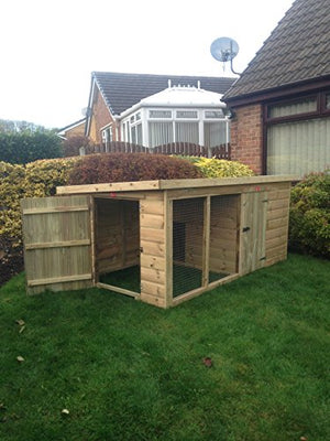 Pinelap quality wooden 8x4 compact deluxe T&G dog kennel & run - 10-year anti rot timber - Vercia Fashion Group