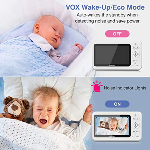 "Load image into Gallery viewer, Baby Monitor, 5"" HD BIGASUO Video Baby Monitor with Camera and Audio, Night Vision, Two-Way Talk, Lullabies, Remote Pan Tilt Zoom, Temperature Sensor, Support 1080P & 2.4GHz Wireless 984ft Long Range - Vercia Fashion Group"