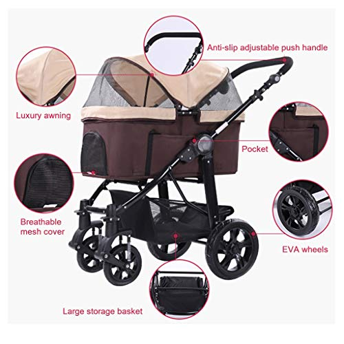 HHGO Dog Stroller, Pet Stroller For Large Pet Stroller Medium Dogs And Cats, 4 Wheel Foldable Detachable Light Travel Puppy Buggy Pushchair Pram, Up To 20kg (Color : Gray) - Vercia Fashion Group
