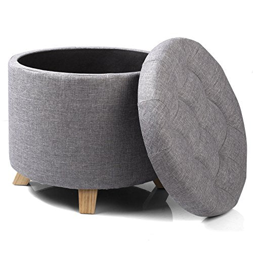 Load image into Gallery viewer, WOLTU Storage Ottoman Chair Stool Light Grey Upholstered Footstool Linen Round Pouffe Chair Multifunction with Removable Cover - Vercia Fashion Group