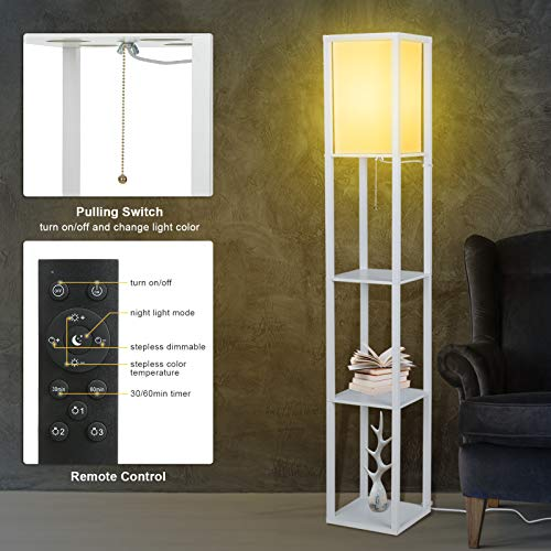 Tomshine Floor Lamp with Shelves, 3 Layers Wooden Shelf Tall Lamps with Remote Control Modern Standing Lamps for Living Room Office Home Decoration White(Bulb Included) - Vercia Fashion Group