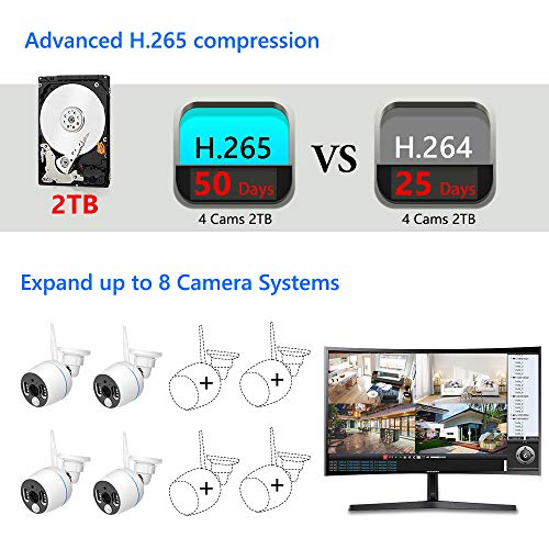 YESKAMO Long Range Wireless Outdoor Home CCTV Camera System [Floodlight & Audio] 3MP Spotlight WiFi Security IP 4 Cameras Kit, 8CH NVR Recorder with 2TB Hard Drive,Video Surveillance Cameras Set - Vercia Fashion Group