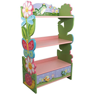 Fantasy Fields - Magic Garden themed Pink Book Case Kids Wooden Bookcase with Storage Drawer| Hand Crafted & Hand Painted Bookshelf | Child Friendly Water-based Paint - Vercia Fashion Group