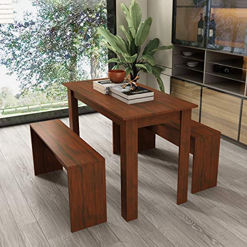 Zoyo Wooden Dining Table and Bench set Modern Kitchen Dining Room Furniture (Brown) - Vercia Fashion Group