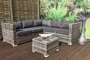 XHTANG 5 Seater Garden Furniture Set,rattan garden furniture,Glass Coffee Table Conversation Set,set cushions metal frame outdoor patio - Vercia Fashion Group