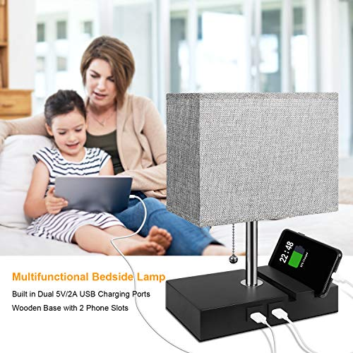 USB Table Lamp with 2 Useful USB Ports, Aooshine USB Bedside Lamp, Suitable for Nightstand Lamp or Bedroom Lamps, Grey Fabric Shade Bedside Table Lamp, with 2 Convenient Phone Stand On The Base - Vercia Fashion Group