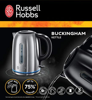 Russell Hobbs 20460 Quiet Boil Kettle, Brushed Stainless Steel, Silver, 3000 W, 1.7 Litre - Vercia Fashion Group