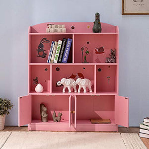 Emall Life Kids Bookshelf and Storage, Children's Bookcases Displaying Books Toys Organizer Shelving Unit for Boys and Girls (Pink) - Vercia Fashion Group