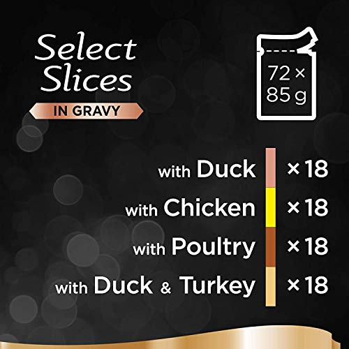 Sheba Select Slices in Gravy – Poultry Selection – Wet cat food pouches for adult cats – 72 x 85 g Pack - Vercia Fashion Group