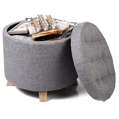 WOLTU Storage Ottoman Chair Stool Light Grey Upholstered Footstool Linen Round Pouffe Chair Multifunction with Removable Cover - Vercia Fashion Group