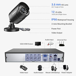 ANNKE 8+2CH 5MP H.265+ DVR CCTV Camera Systems, 4x HD 2.0MP Outdoor Bullet Security Camera, Weatherproof, Smart Motion Detection, Remote Access, Mobile Viewing, Email Alerts, NO HDD - Vercia Fashion Group