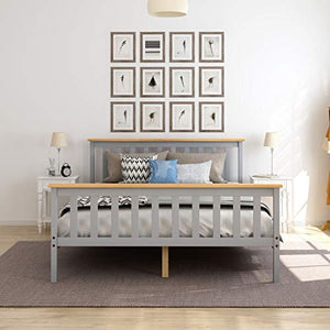 Panana 4.6FT Double Bed Solid Wood Bed Frame Wooden For Adults, Kids, Teenagers (Grey) - Vercia Fashion Group