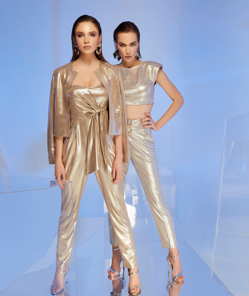 Load image into Gallery viewer, Gold Lame Summer Strapless Jumpsuit - Vercia Fashion Group