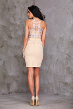 Nude Colour Peplum Tassel Party Dress