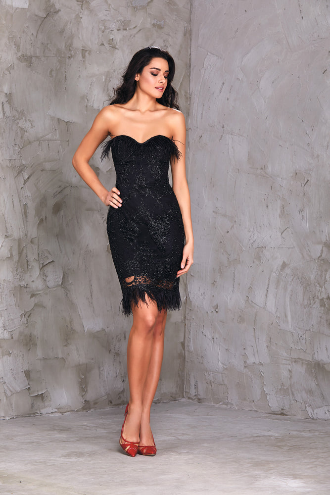 Strapless Tassel Detailed Italian Lace Cocktail Dress
