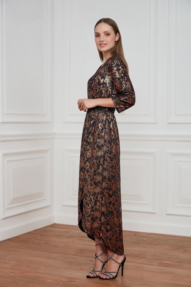 Wrap Style Midi Evening Dress In Bronze - Vercia Fashion Group