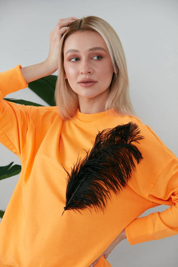 WOW Sweatshirt in Neon Orange With Feather